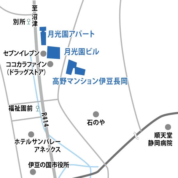 温泉街エリアの地図